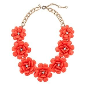 J.Crew Red beaded rose necklace